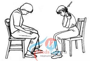 Положение тела больного для тейпирования при грыже