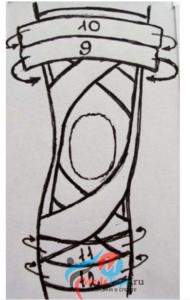 Шаг 4: Поверх всей конструкции наклеиваем закрепительные тейпы выше и ниже колена.