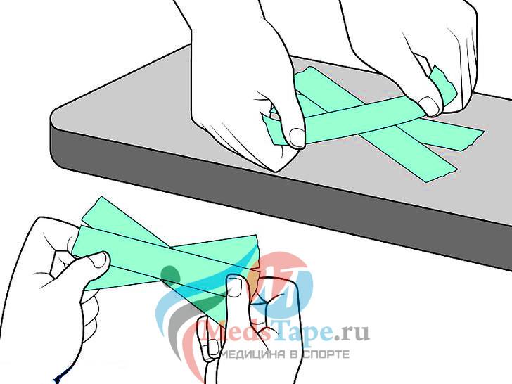 5. Наложите поддерживающий «веер» из липкой ленты.