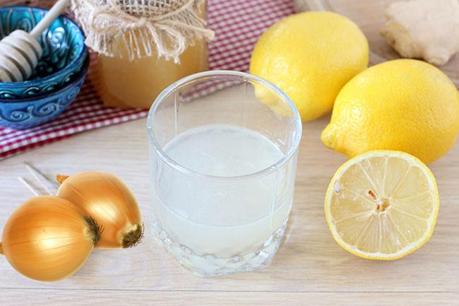 Лимон, лук, мед и глицерин для приготовления средства от кашля