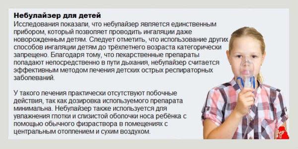 Информация о применении небулайзера для детей